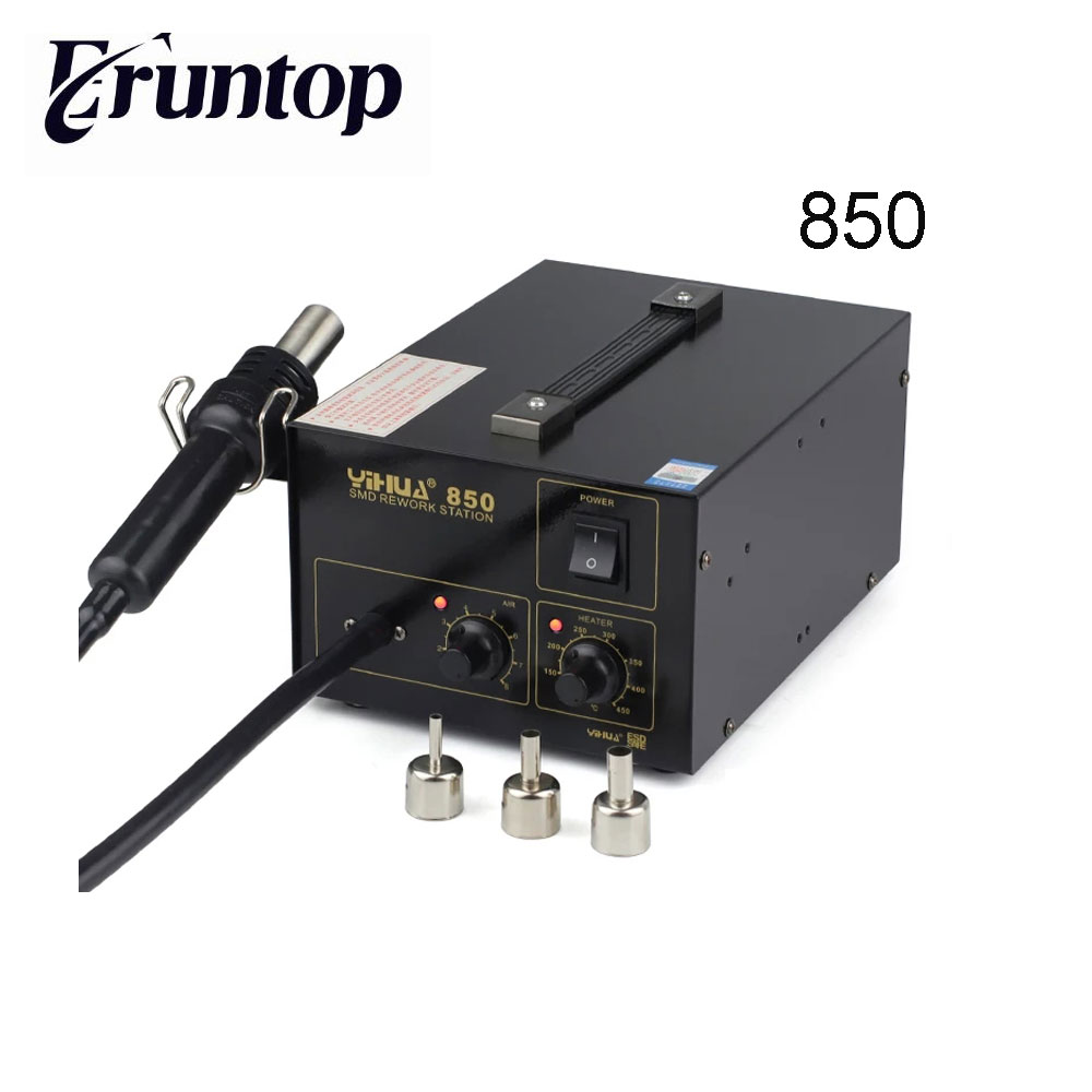 YIHUA 850 Lead Free Hot-Air Soldering SMD Rework Station With 3 Nozzles yihua 898d led digital 700w lead free smd desoldering soldering station hot air soldering station