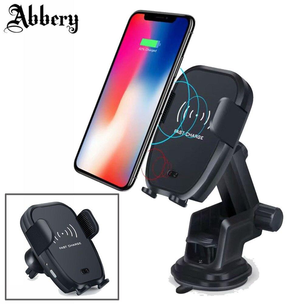 Chargeur de voiture sans fil rapide capteur infrarouge automatique voiture montage ventilation téléphone berceau support pour iPhone 8 Plus X Samsung S9 Note 9