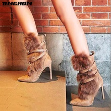 TINGHON Women Fur Cross-tie High Heel Mid-Calf Boots Suede Leather Pointed Toe Elegant Winter