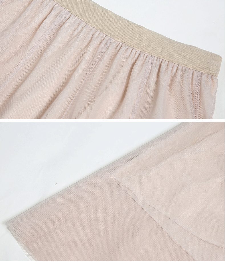 Jielur Autumn 3 Layers Princess Tulle Skirts Vintage Solid Color Mesh Women Skirt Pleated A-line Saia Female Jupe Tutu Skirts 19
