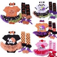 Groothandel halloween meisje kleding sets schedel bebe infant carnaval kostuums romper dress + hoofdband + kousen + schoenen 4 stks sets