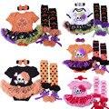 Venta al por mayor disfraces de carnaval de halloween ropa del bebé establece cráneo bebe infantil mameluco dress + venda + medias + zapatos 4 unids conjuntos