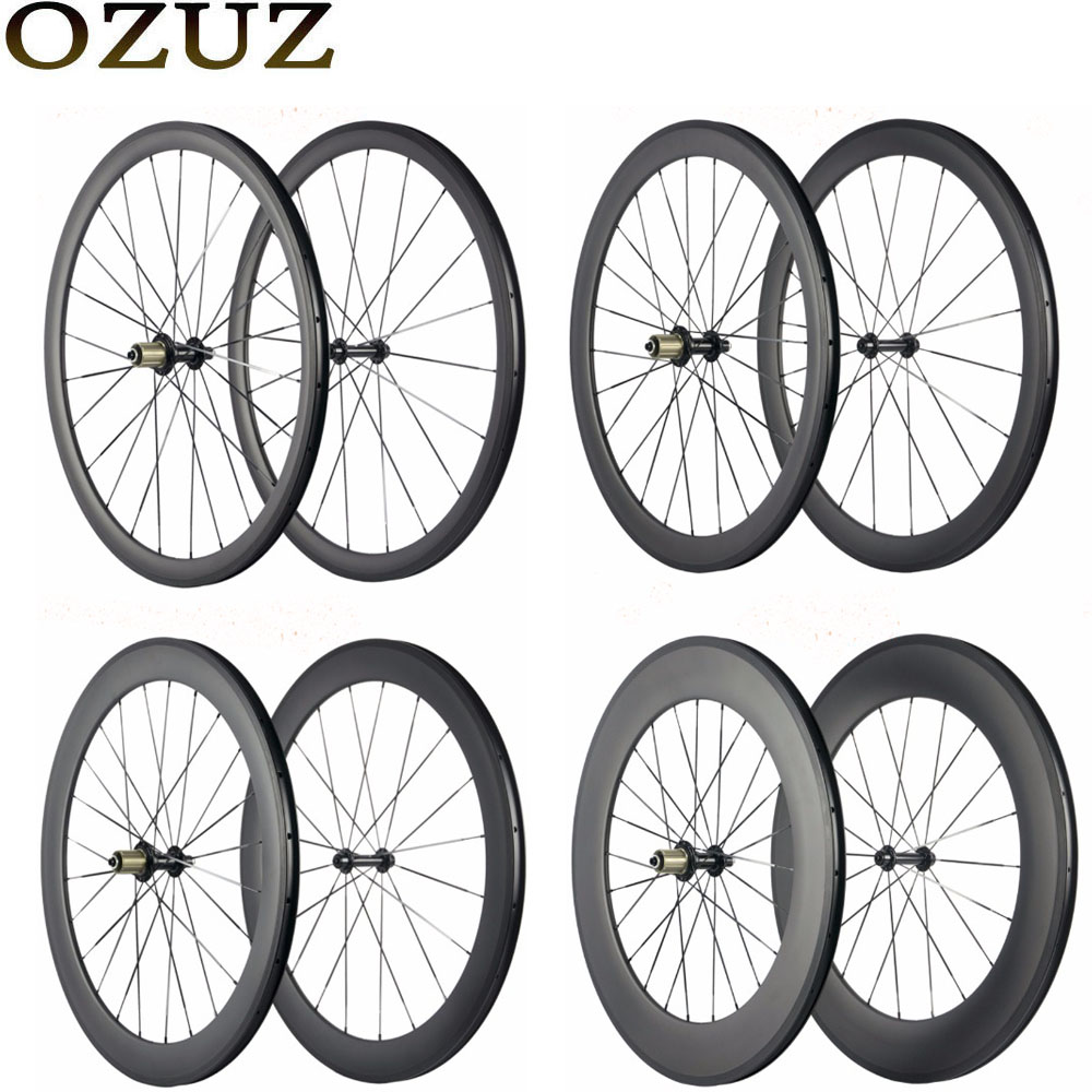 цены Factory Sales OZUZ 700C Carbon Wheelset 24mm 38mm 50mm 88mm Bicycle Wheel Clincher Tubular Super light Carbon Wheels Road Bike