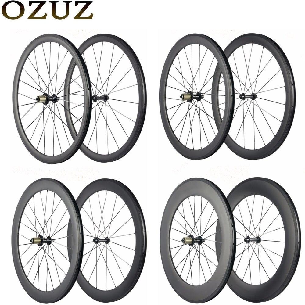Ventas de Fábrica OZUZ 700C ruedas de carbono 24mm 38mm 50mm 88mm bicicleta ruedas Clincher Tubular Super Luz bicicleta de carretera ruedas de carbono