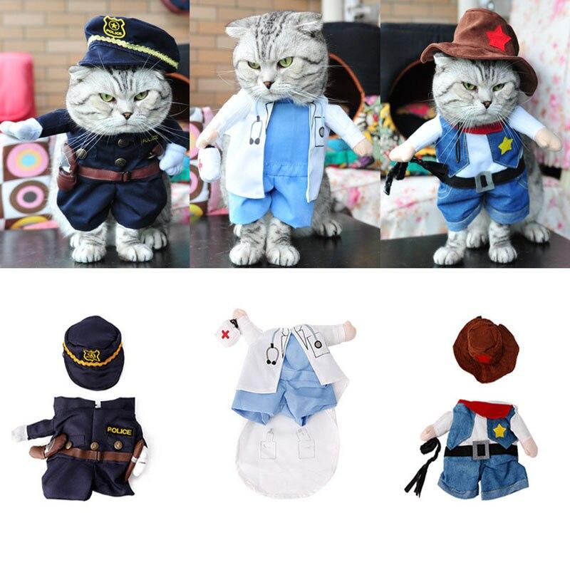 Funny Fashion Pet Dog Cat Clothes Costume Dress Doctor Policeman Cowboy Suit Outfit Cotton Apparel S M L