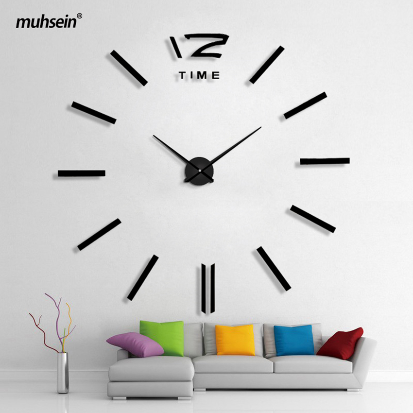 2020 New Arrival Quartz Clocks fashion watches 3D real big wall clock rushed mirror sticker DIY living room decor Free Shipping