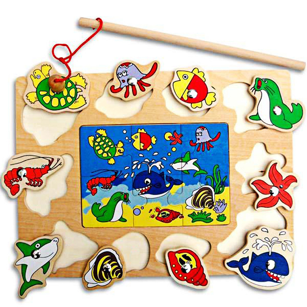 Baby Wooden Toys Magnetic Fishing Game Jigsaw Board 3D Puzzle Jigsaw Wood Educational Toys for Children Random Colors