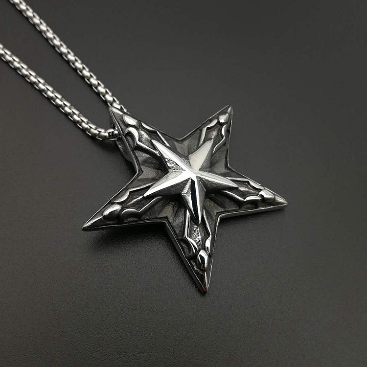 Hiphop Stainless steel Pentagram Pan God Head Pendant Necklace Luck Satanism Occult Metal Vintage Silver Star Necklace for Man