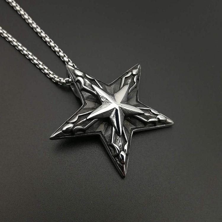 Hiphop Stainless steel Pentagram Pan God Head Pendant Necklace Luck Satanism Occult Metal Vintage Silver Star Necklace for Man