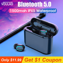 VOULAO Wireless Headphones HBQ Q32 TWS Bluetooth 5.0 Earphones Handset With 1500 mAh Power Bank Sport Earbuds Handfree Headphone(China)