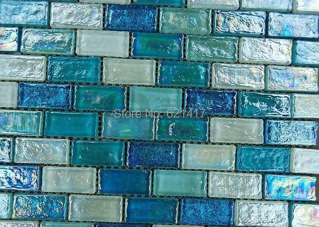 Blu striscia di mosaico di vetro di cristallo hmgm1117 backsplash
