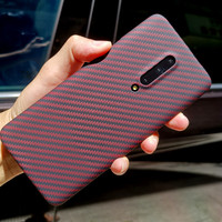 Aramid fiber Back Cover For OnePlus 7 Pro Protective Case 7T carbon Cases and covers Nylon bumper Official Design