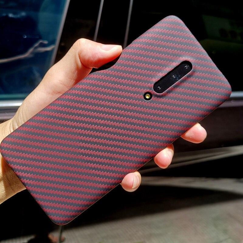 Coque arrière en fibre d'aramide pour OnePlus 7 Pro étui de protection en carbone et housses en Nylon Design officiel