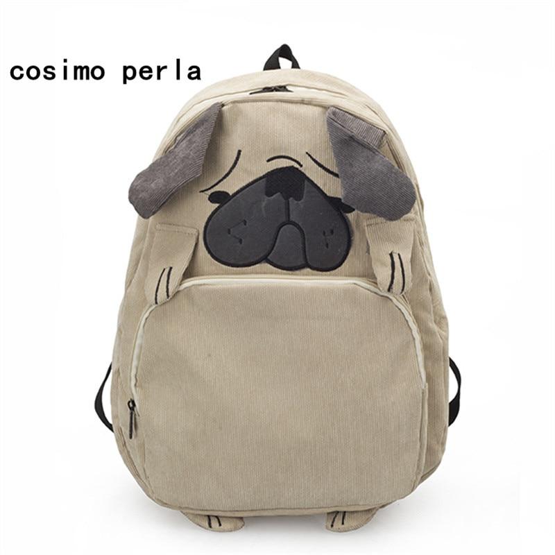 Cute Pug Dog Corduroy Backpacks Bag Women Japan Style Fox Embroidery School Bags For Teenage Girls Large Travel Mochila Female