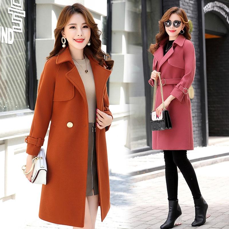 Kadın Giyim'ten Yün ve Karışımları'de Ofis Bayan Yeni Yün Ceket Ceket 2019 Kadın Kış Ceket Yeni Orta Uzunlukta Moda Yün Dış Giyim Zarif Palto Kadın XXL'da  Grup 1