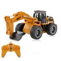 Original HUI NA TOYS NO 1530 2 4G 6CH Mini RC Excavator Engineering Vehicle Truck Toys