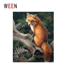 WEEN Fox Under Tree Diy Painting By Numbers Animal Oil On Canvas Forest Cuadros Decoracion Acrylic Wall Art Home Decor