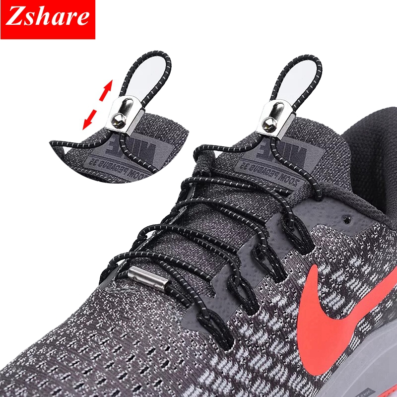 1Pair Reflective No Tie Shoelaces Elastic Locking Shoe Laces Kids Adult Quick Sneakers Shoelaces Round Shoe Lace Lacet Chaussure