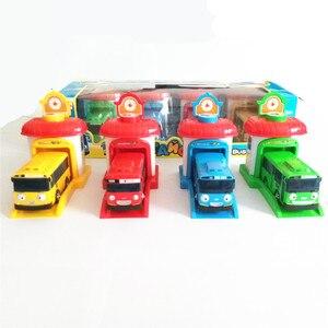 4pcs Korean Cartoon Tayo the Little Bus Garage Oyuncak parking lot Model mini Plastic blue Tayo Bus for Kids Brinquedo Car gift