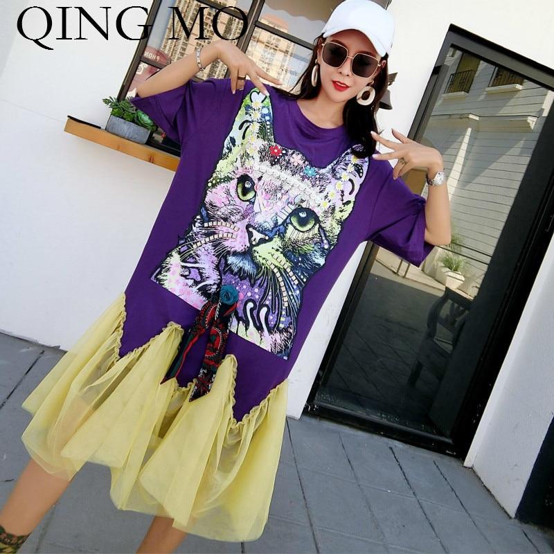 QING MO Cat Print Dress Robe Femme 2018 Mesh Patchwork Black Shirt Dress with Sequin Animal Pattern Loose Dress for Women ADQ279