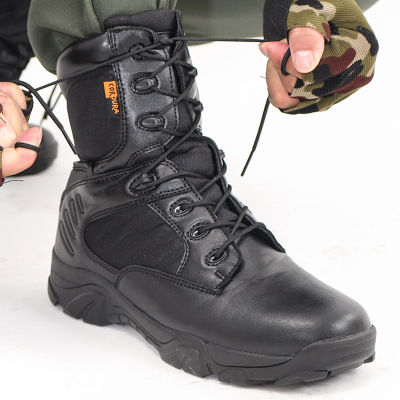 Pjcmg New Mens High Boots Genuine Leather High-leg Martin Male Shoes Zipper Design Tactical Boots Delta Men Black Boots 72070n Basic Boots