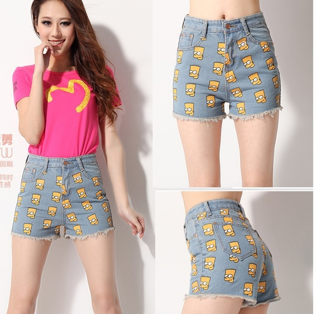 75943e47144 2015 Summer Fashion Clothing Female Jeans Women Short Casual Cute  Embroidery patterns Floral Cartoon high waisted Denim Shorts