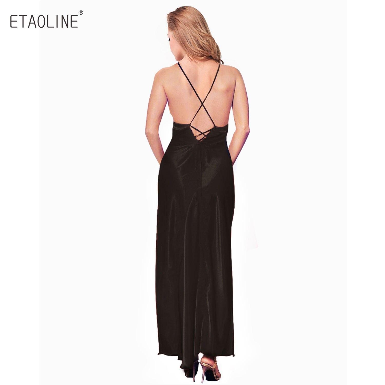 b6be108ddbe ETAOLINE 2018 Women Satin Nightgown Lace Lingerie Trimmed Full Length Slip  Dress Plus Size R04-in Nightgowns   Sleepshirts from Underwear   Sleepwears  on ...