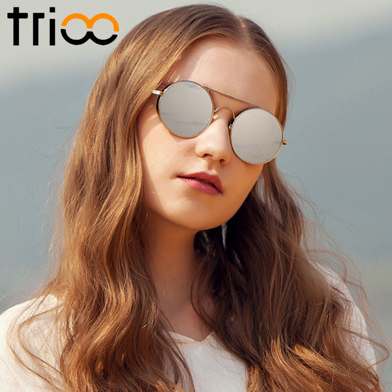 TRIOO Round Luxury Pink Ladies Shades Mirror Color Lens Lunette Twin Beams Designer Sunglasses For Women Fashion Eyewear Accesso ...