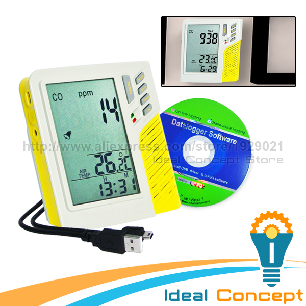 Taiwan Made USB Wall-mount/Desktop Datalogger Carbon Monoxide Large LCD Power Adaptor Alarm Indicator digital indoor air quality carbon dioxide meter temperature rh humidity twa stel display 99 points made in taiwan co2 monitor
