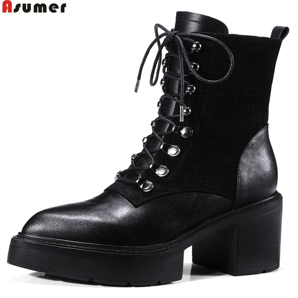 ASUMER 2018 hot sale new arrive women boots genuine leather ladies boots pointed toe zipper square heel cow leather ankle boots