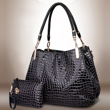 2 قطعة حقائب النساء الإناث حمل حقيبة التمساح حقائب كتف كبيرة عملة/حقيبة المحفظة السيدات رسول حقيبة جلدية Crossbody مركب