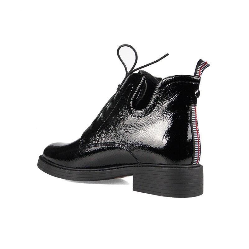 Redondo Botas Invierno Dedo Pie 2019 Motocicleta Plush De Tacones Gruesos Mujer Short Calzado Del Black Cuero Mujeres Wetkis La Zapatos Las qnz5x0TTw
