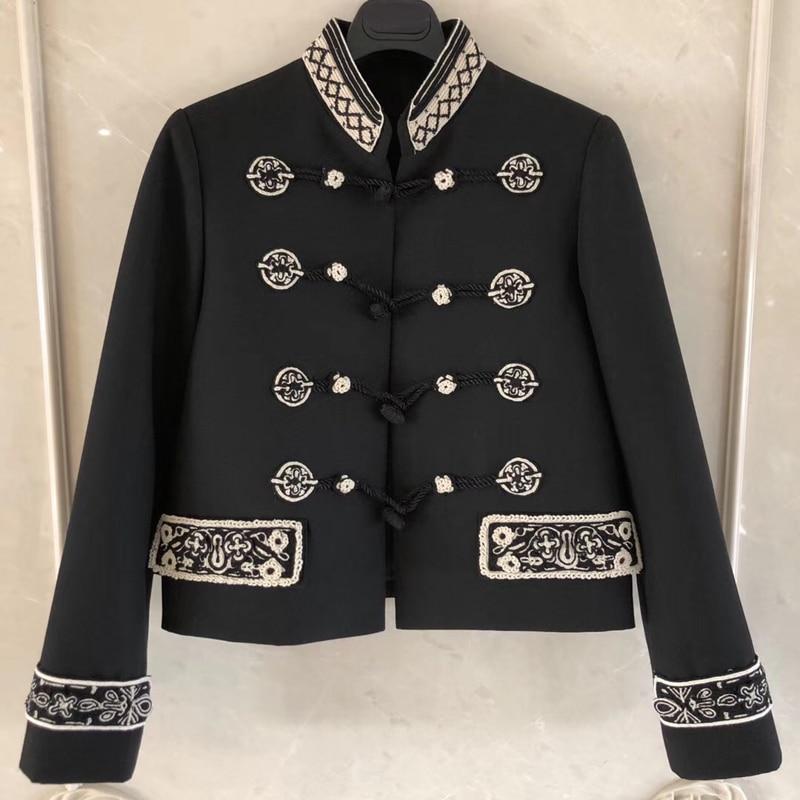 Montant Noir Automne Court Longues Col Femmes Haute Veste Outwear Qualité Manches 2019 AtqAYwrT