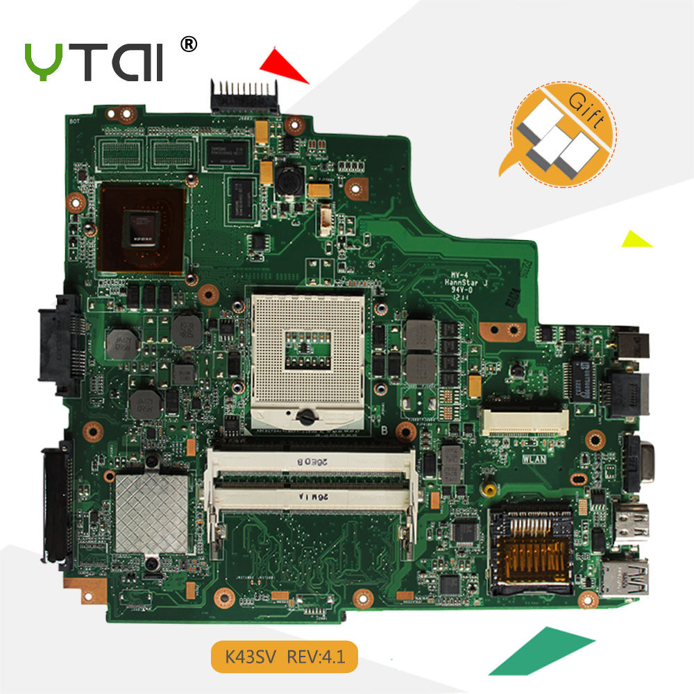 YTAI K43SV REV:4.1 GT520M motherboard for Asus A43S X43S K43S K43SJ K43SV laptop motherboard HM65 DDR3 PGA989 100% tested ipc motherboard sbc81206 rev a3 rc 100