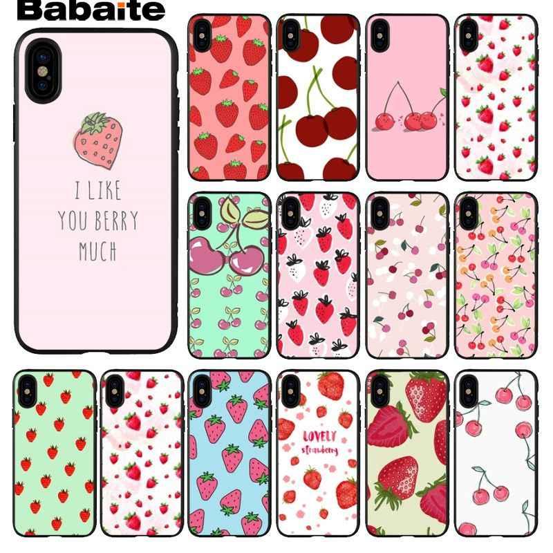 Babaite 漫画素敵な桜イチゴ黒携帯電話ケース用 8 7 6 6 S プラス X XS 最大 5 5 S 、 SE XR 携帯ケース