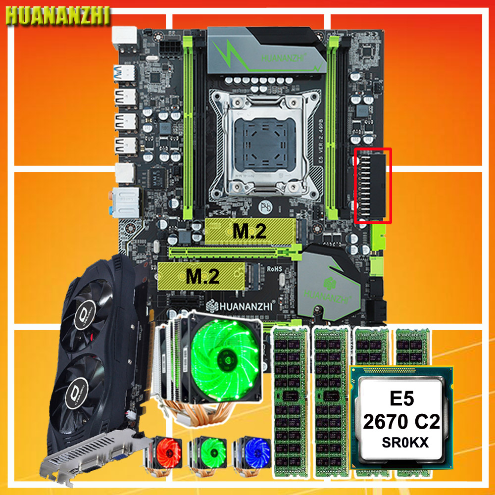 HUANANZHI X79 motherboard Pro com DUAL slot SSD NVMe M.2 GTX750TI 2GD5 CPU Intel Xeon E5 2670 C2 6 tubos refrigerador RAM 32G (4*8G)