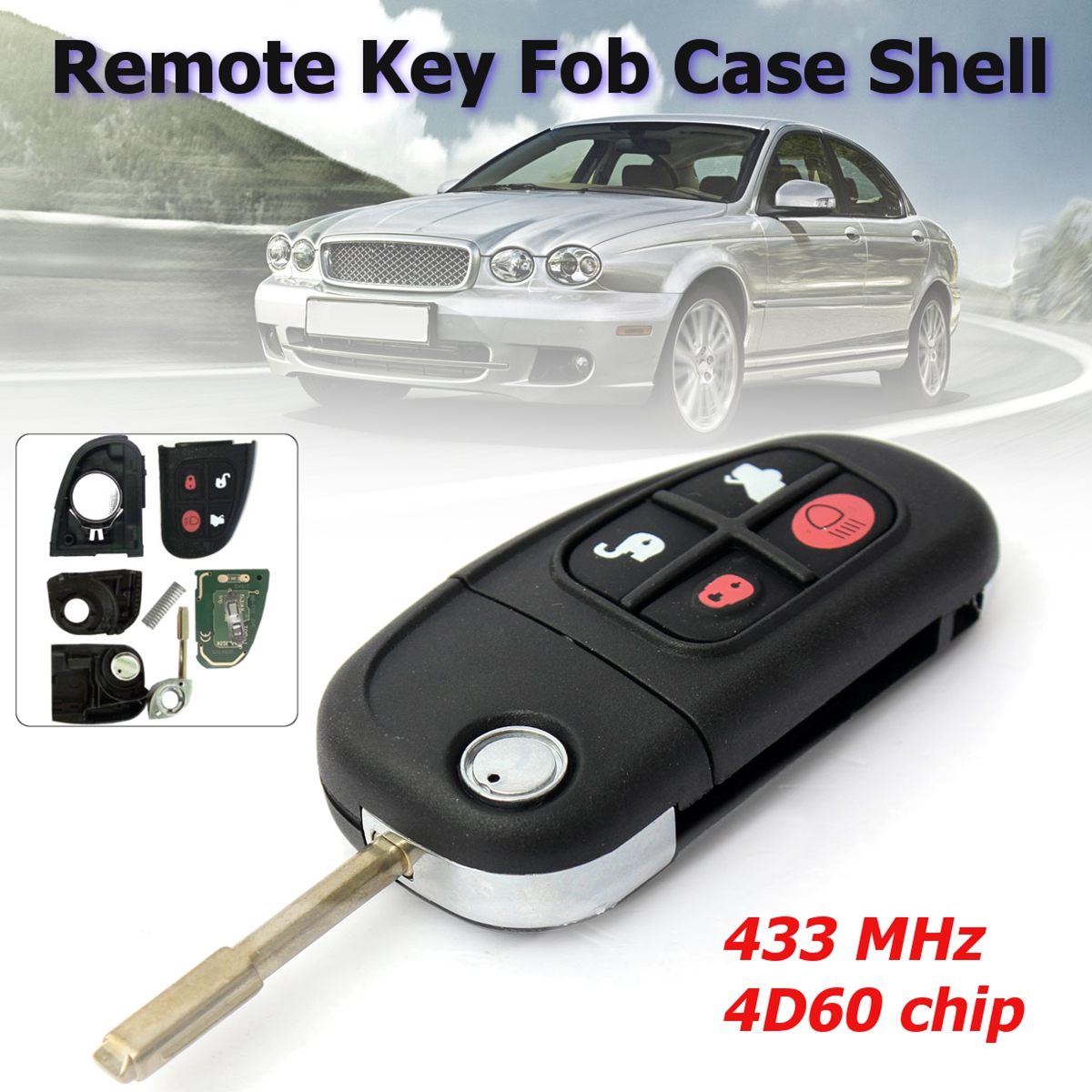 Brand new 4 Bottons Car Auto Flip Remote Key for Jaguar X-Type S-Type 1999-2009 XJ XJR 2002-2008 433MHz with 4D60 chip(China)
