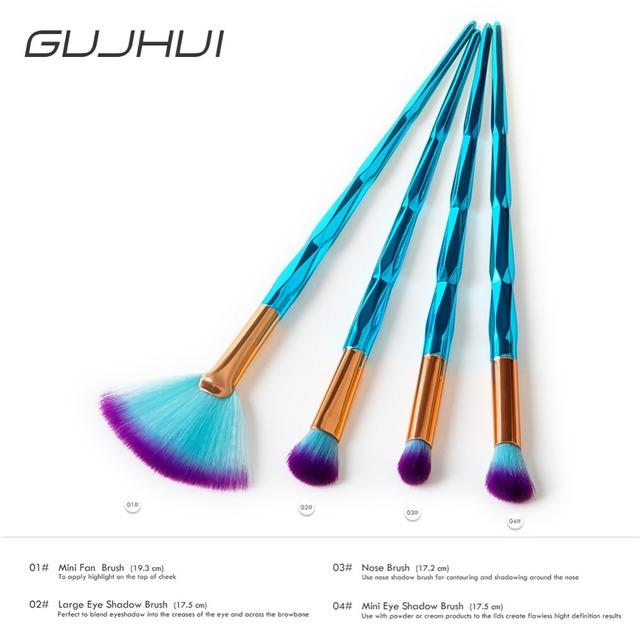 2018 New 4Pcs Diamond Blue Eye Makeup Brushes Set Cosmetics Eyeshadow Concealer Blending Fan Shape Make Up Beauty Tools #257541