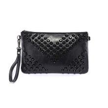 KEYTREND Dame Schwarz Vintage Messenger Bags Mode Niet Casual Kupplung Handtasche Schultertasche Für Party KSB179