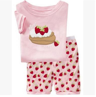 цена на Boys Girls Short Sleeve Pajamas Set Strawberry cake pattern Pijamas for Kids 2pcs Baby Child Summer Sleepwear Pyjamas