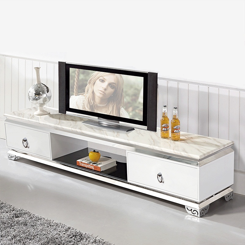 Durable Modern Tv Stands Marble Top Stainless Steel Tv