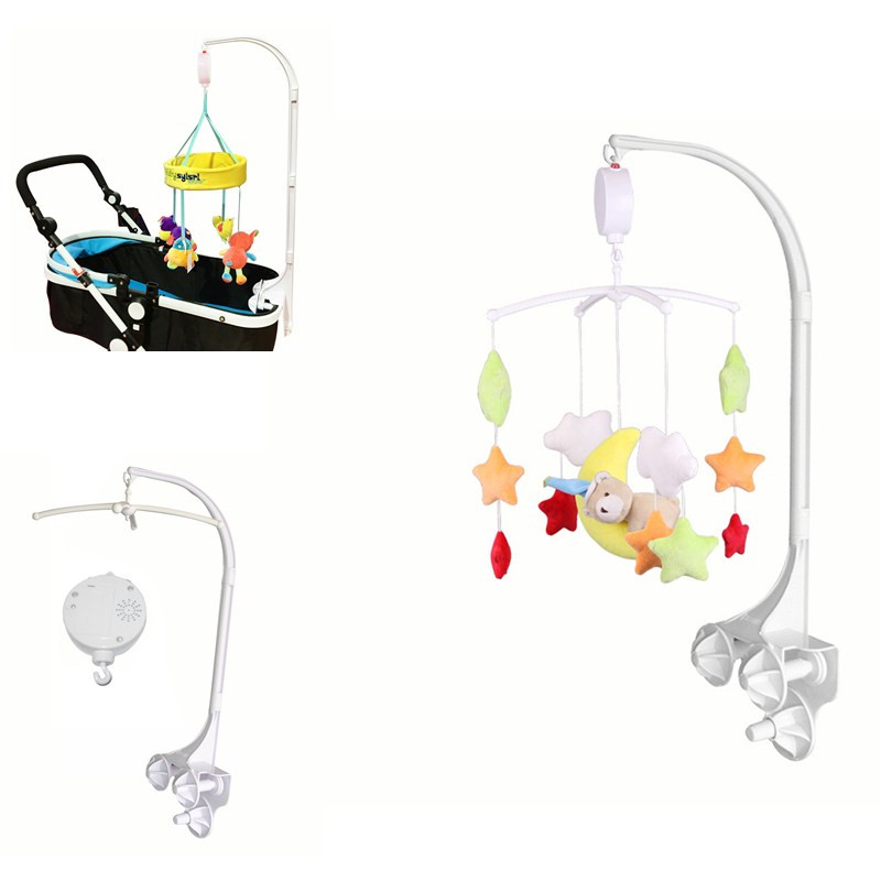Baby Crib Bed Rattles Toys Holder Newborn Cot Mobile Toy Bracket Rotary Crib Mobile Musics Box Stroller Bed Toys For 0-12 Months