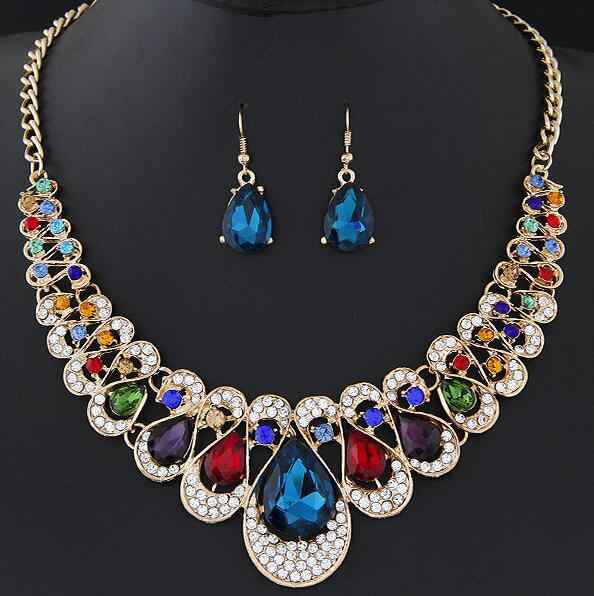 Fashion Crystal Bridal Jewelry Sets For Women Rhinestone Geometric Choker Water Drop Chain Collars necklaces Earrings wholesales