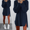 Zanzea mujeres pullover dress 2017 señoras de manga larga casual loose solid mini dress asimétrica vestidos de gran tamaño de la venta caliente