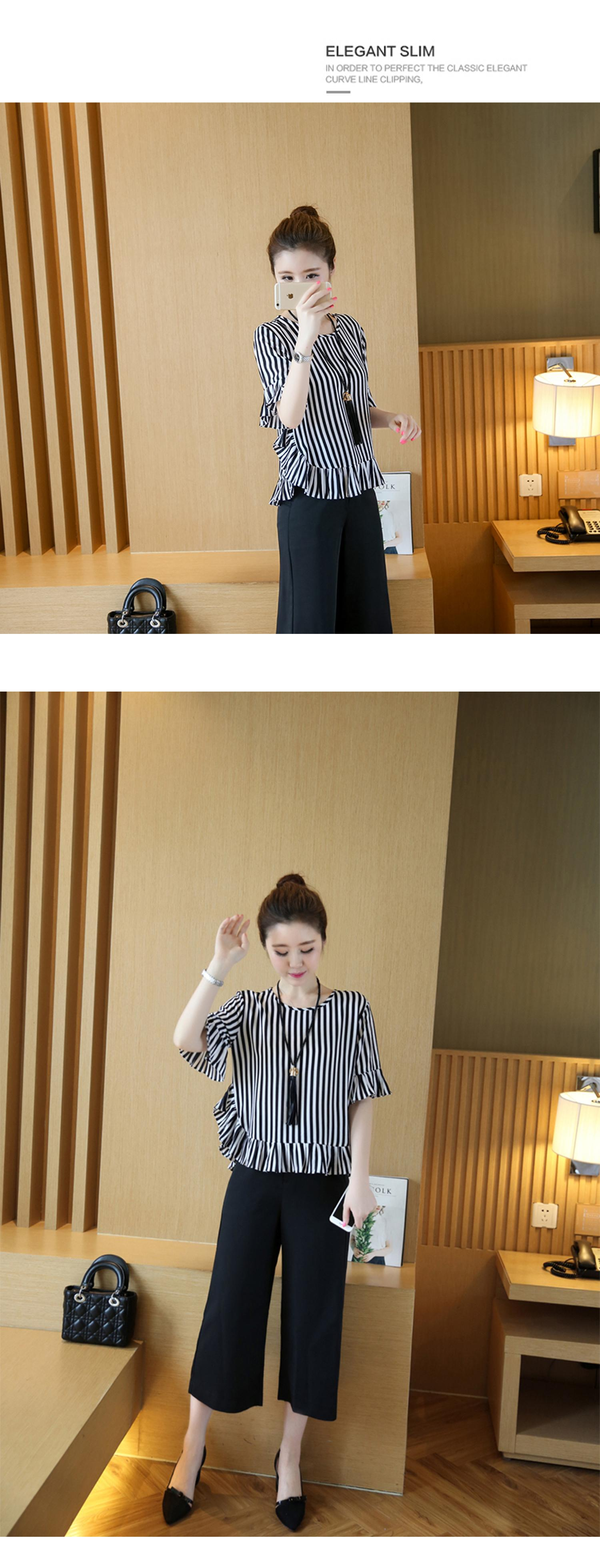 XL -4XL New women's clothing big yards wide leg korean fashion stripe pleated chiffon blouse suits summer two-pcs set loose 13