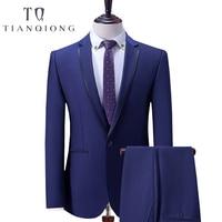 Тянь QIONG синий Бизнес Для мужчин костюмы индивидуальный заказ, заказ классические Нарядные Костюмы для свадьбы для Для мужчин, индивидуальн