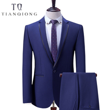TIAN QIONG Blue Business Men Suits Custom Made, Bespoke Classic Wedding Suits For Men, Tailor Made Groom Suit Tuxedos For Men