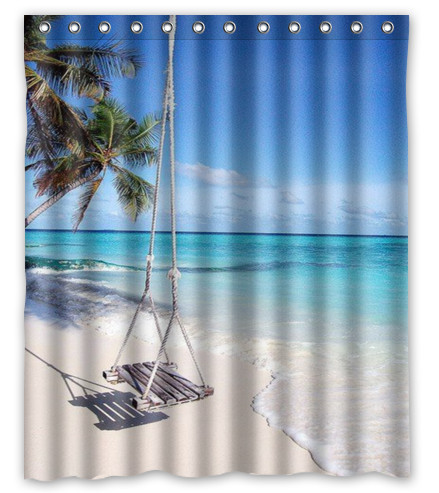 Yellow Sunshine Sunset Coconut Tree Seaside Blue Sky Shower Curtain 60 X 72