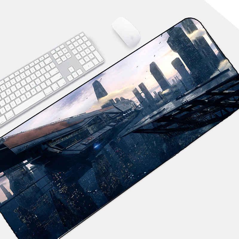 Mairuige Beautiful Sci-fi Spacecraft Landscape Print Custom Design Large Size Big Mousepad Table Mat for Pc Keyboard Mouse Game