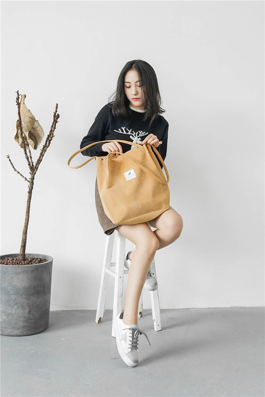 Mara's Dream High Capacity Women Corduroy Tote Ladies Casual Solid Color Shoulder Bag Foldable Reusable Women Shopping Beach Bag 15